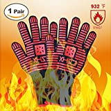 XHSJ Extreme Heat Resistant Grill Gloves, Premium Insulated & Silicone Lined Aramid Fiber Mitts for Cooking,Frying,Grilling, BBQ & Baking - Professional Indoor Outdoor Kitchen & Oven Accessories(BR)