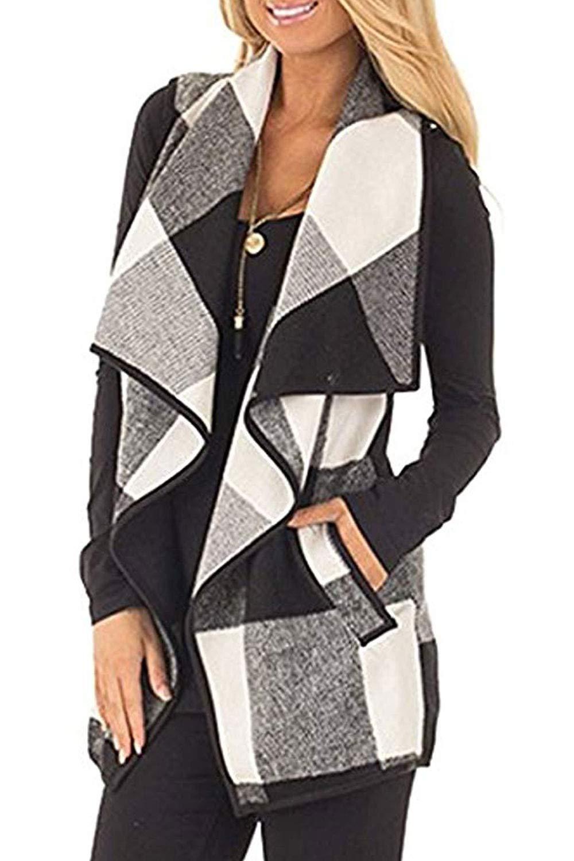 Womens Sleeveless Vest Plaid Hem Drape Open Front Cardigan (Grey, Medium)