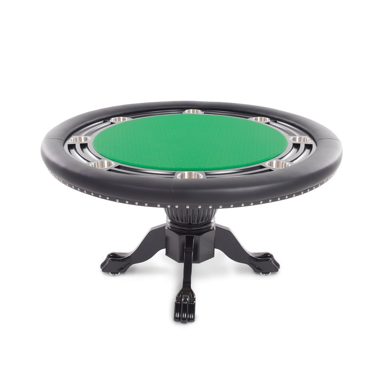 BBO Poker Nighthawk Poker Table for 8 Players with Green Speed Cloth Playing Surface, 55-Inch Round