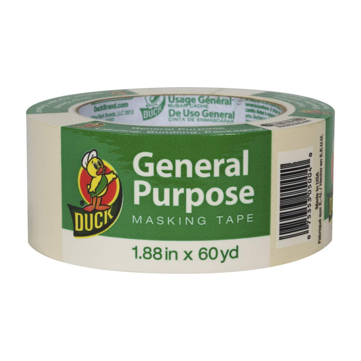 Single Roll 0.94-Inch by 60-Yard Beige Duck Brand 394693 General Purpose Masking Tape