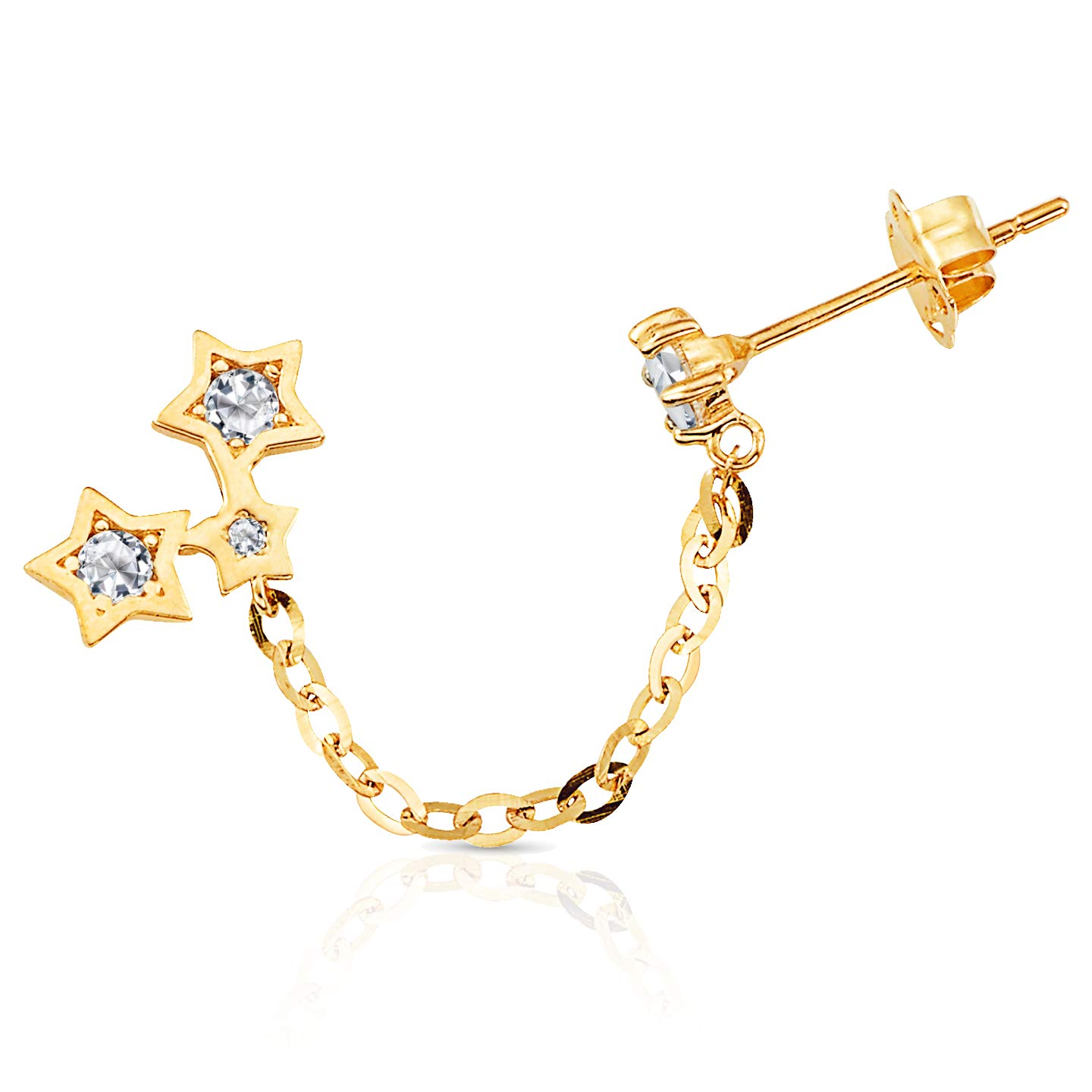 f88a18f24c276 Solid Stars with CZ Accent Chained to a CZ Stud Double Piercing ...