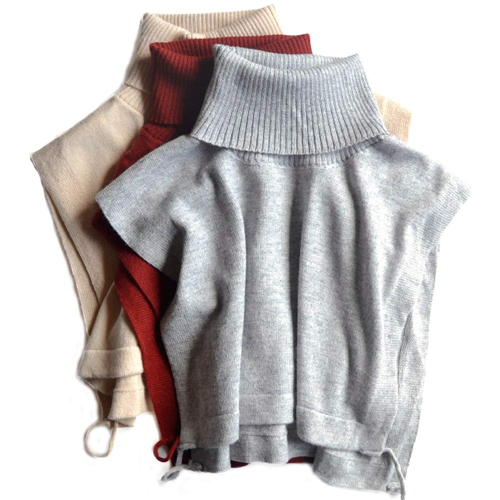 Winter Wool Knitted Unisex Turtleneck Black Red Grey Khaki Dickies False Collar