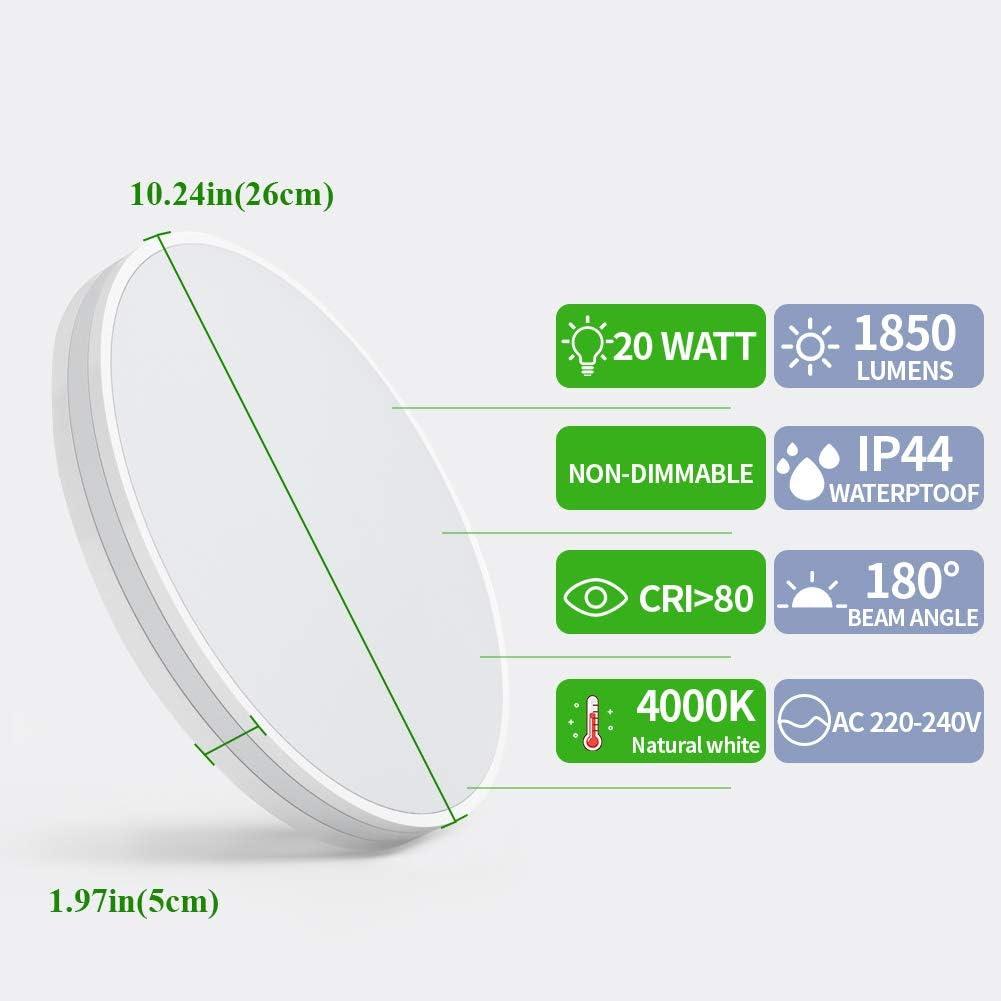 /Öuesen Deckenlampe 20W LED Deckenleuchte Bad 4000K Naturwei/ß Lampe Wasserfest IP44 1850LM Rund Leuchten f/ür Badzimmer Wohnzimmer Korridor K/üche Balkon