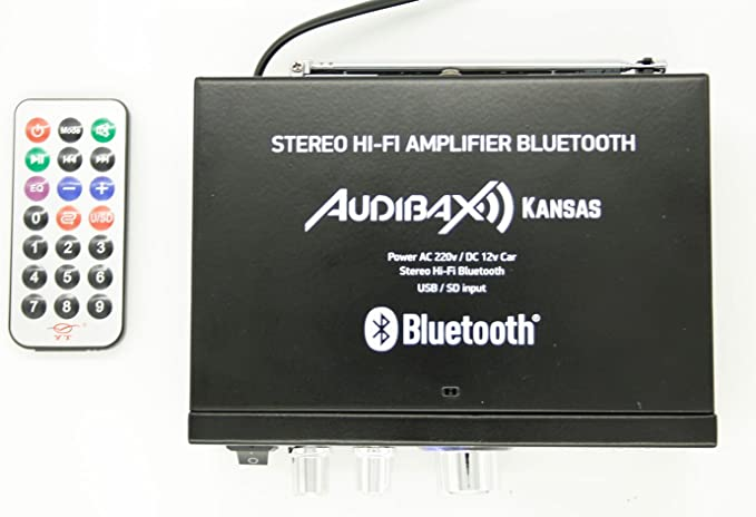Audibax KANSAS Amplificador HiFi con Bluetooth / MP3 / FM 2 x 40W ...