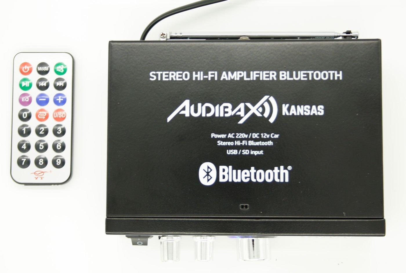 Audibax KANSAS Amplificador HiFi con Bluetooth / MP3 / FM 2 x 40W (Reacondicionado Certificado): Amazon.es: Electrónica