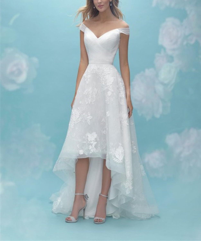 Homdor Women A Line Off Shoulder High Low Wedding Dresses Beach ...