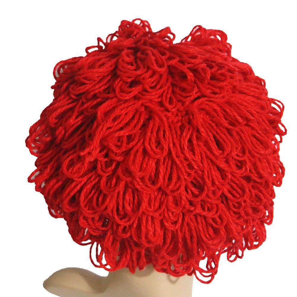 BIBITIME Handmade Knitted Beanie Wig Hats with Hair for Women Men Halloween Cap