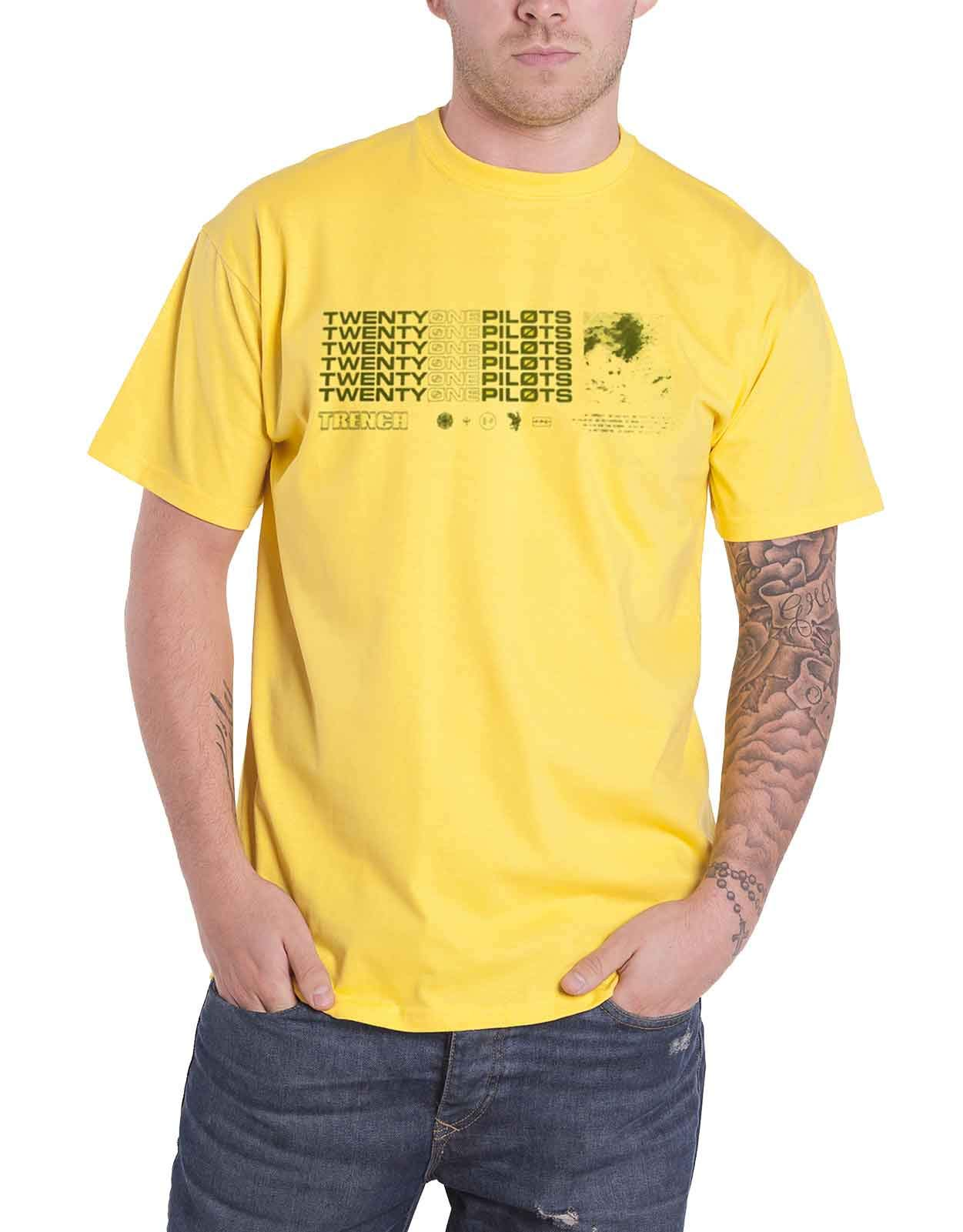 Twenty One Pilots T Shirt Trench Stacker Band Logo Official Mens Yellow