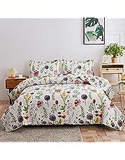 Green Essen Lightweight Floral Leaves Bedspread Set
