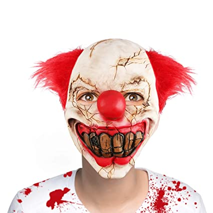 b61759b79 Image Unavailable. Image not available for. Color: Aiduy Halloween Mask  Scary Clown Masks for Adults, Horror Latex Mask Cosplay Creepy Head Mask
