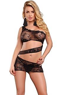ebeb599dbebeb Sexy Black one shoulder dress floral lace thong lingerie set 8 10 12 UK