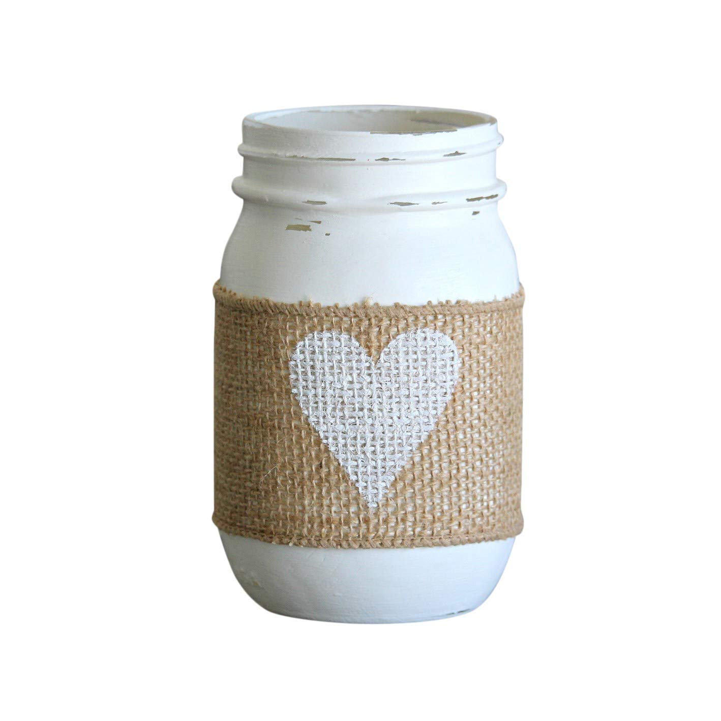 Farmhouse Decor White Heart Painted Mason Jar   Wedding Table Decoration Burlap Rustic Theme