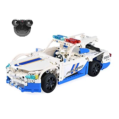 The perseids RC Car Building Kit, 2.4 Ghz Sports Vehicle Toy in White & Blue 430 pcs USB Rechargeable, Gift for Boys Girls 6-14 Years Old: Toys & Games