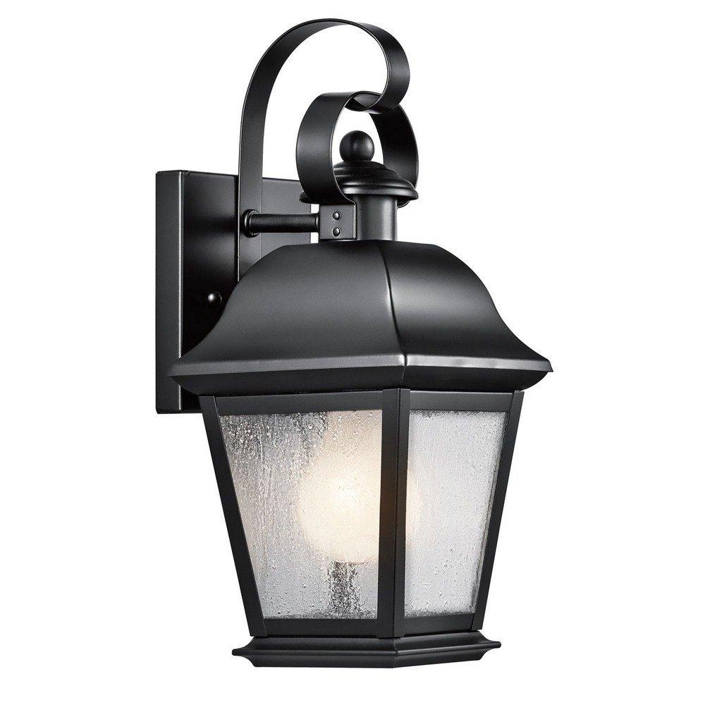 Kichler Lighting 9707BK Mount Vernon 1-Light 13-Inch Outdoor Wall Lantern, Black Finish with Clear Seedy Glass