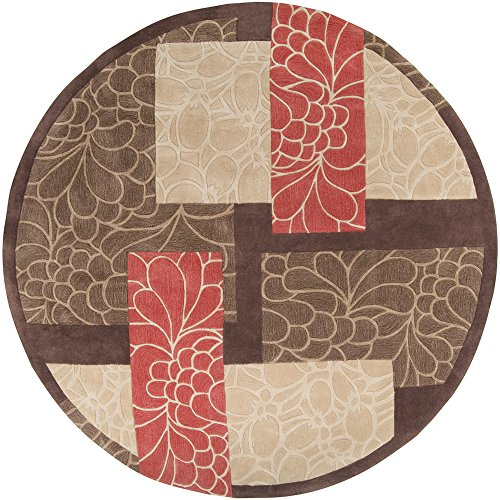 8rd Chocolate - Surya Cosmopolitan COS-8889 Transitional Hand Tufted 100% Polyester Dark Chocolate 8' Round Floral Area Rug