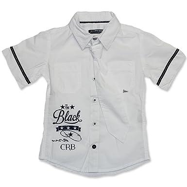 Carbone Festive Camisa de manga corta con corbata Blanco 237 W ...