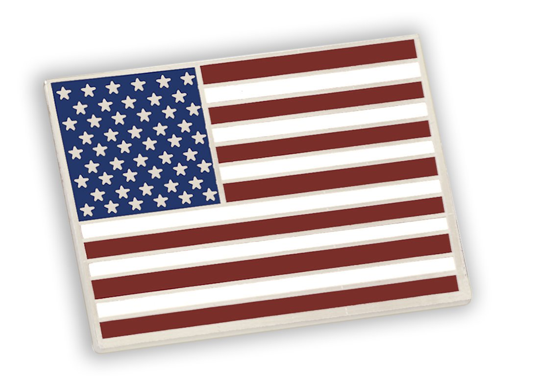 American Flag Lapel Pin PROUDLY MADE IN USA-- Silver Plated Rectangle Bulk (25 Pins)