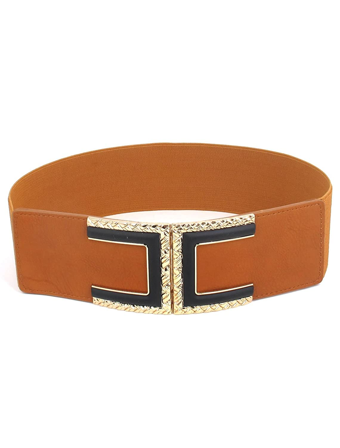 uxcell Metal Faux Leather Women Buckle Cinch Waist Belt Band 6cm Width Brown