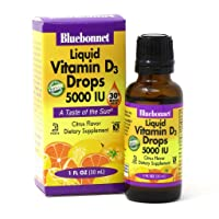 Bluebonnet Nutrition Liquid Vitamin D3 Drops 5000 IU, Aids in Muscle and Skeletal Growth, D3, Non GMO, Gluten Free, Soy Free, Dairy Free, Kosher, 1 fl oz (900 Servings), Citrus Flavor (743715003781)