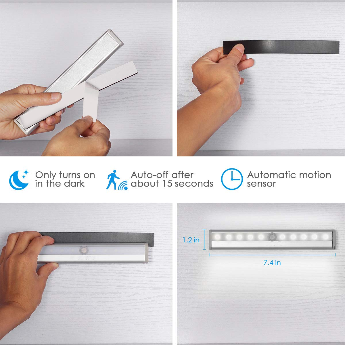 NEW VERSION AMIR Motion Sensor Lights, 10-LED DIY Stick-on Anywhere Battery Operated Portable Wireless Cabinet Night/Stairs/ Step/Closet Light Bar with Magnetic Strip (White, 3 Pack) by AMIR (Image #6)