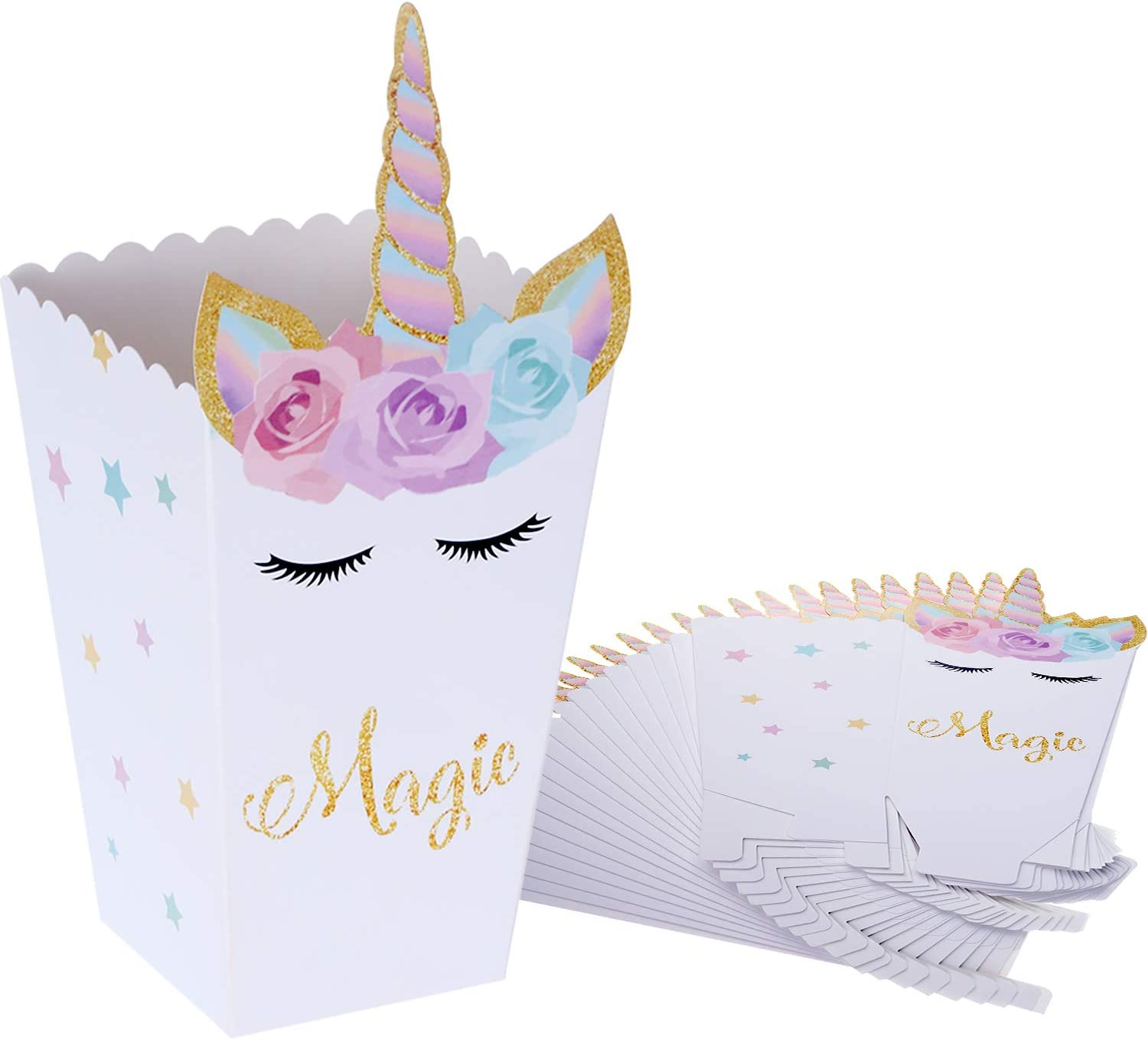 SATINIOR 24 Pieces Popcorn Snack Boxes Rainbow Unicorn Pattern Treat Box Popcorn Container for Baby Shower Birthday Party Supplies(Style 1)