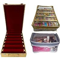 ultimatefashionista Combo of 6 roll Rod Bangle Box Vanity Box Wooden Bangle Storage Box Five Rolla Box Brocade Jewellery kit Vanity case Jewellery (Plastic, Golden)