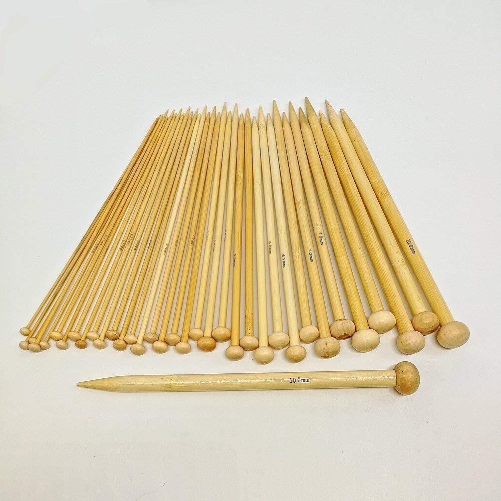 2,0 mm 10,0 mm CHSYOO Juego de agujas de punto de bamb/ú de 36 piezas de bamb/ú con 18 tama/ños