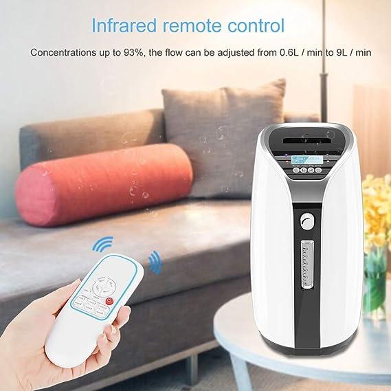 Portable Concentrador y generador de oxígeno 0.6L / min ~9 L/min Oxígeno Generador de Oxígeno Especial para cuidado en el hogar, viajar, ...