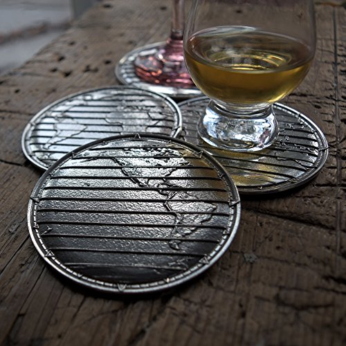 (World Atlas Pewter Coasters- Set of Four by Roosfoos)
