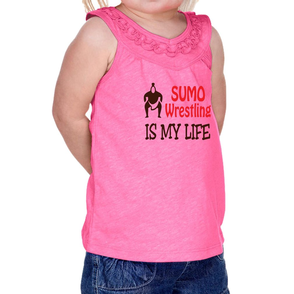 Sumo Wrestling is My Life Sport 60/40 Cotton/Polyester Tank Ruffle Neck Girl Infant Jersey Tee Yoke - Hot Pink, 18 Months by Cute Rascals