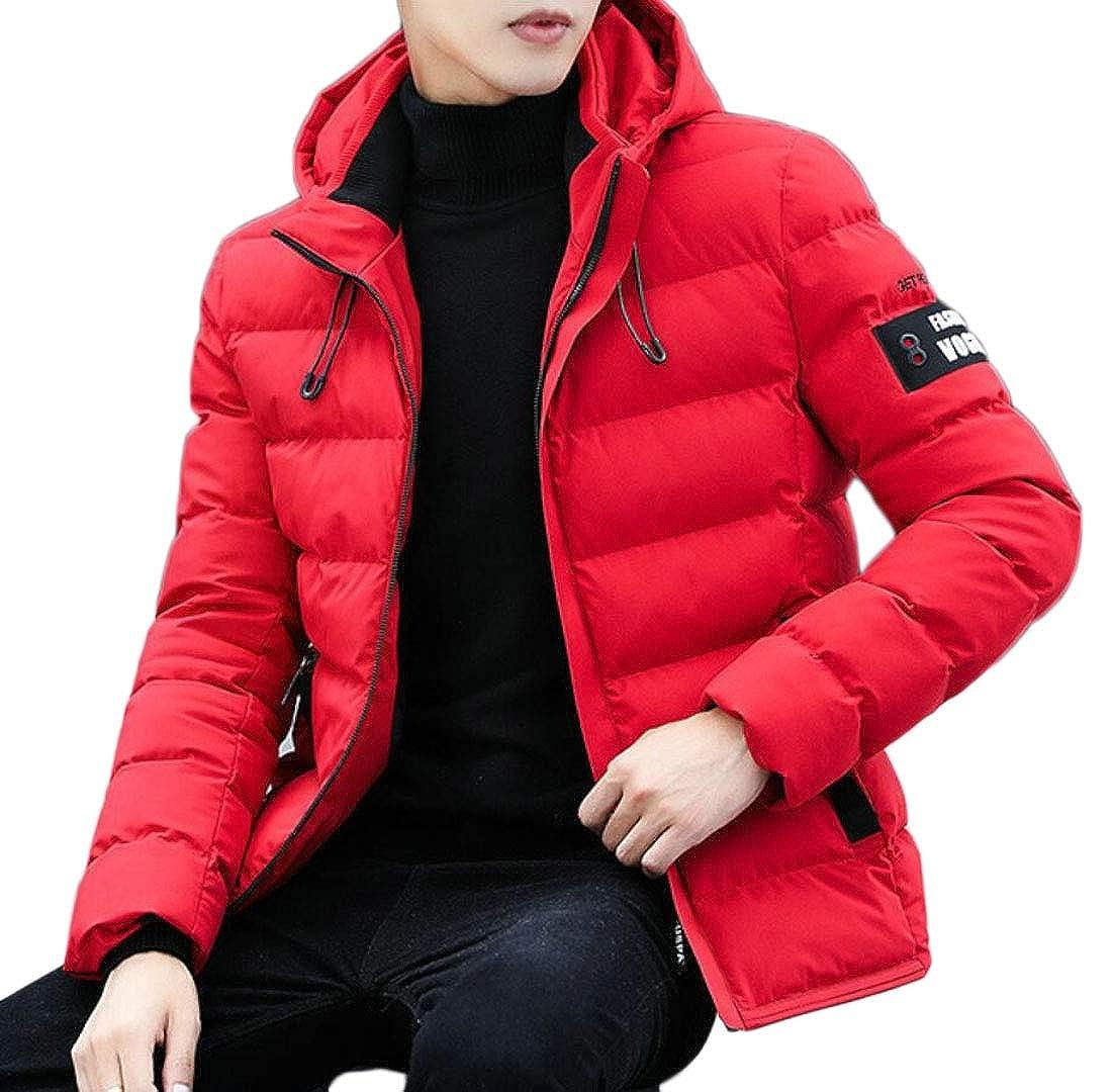heymoney Men Qulited Hooded Coat Casual Winter Outwear Down Jackets