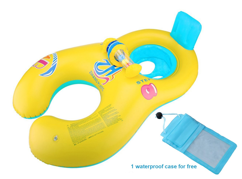 Vercrown Flotador para Bebé con Asiento y Techo Juguete de Piscina de Desarrollo de Nata Natación en Agua Para ambos padres y bebé Con una bolsa ...