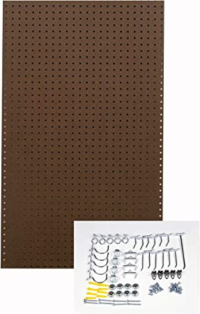 Wall Ready Brown Pegboard Kit 24 In W X 42 In H X 1 4 In D Heavy Duty Commercial Grade Tempered Round Hole Pegboards With 36 Pc Locking Hook Assortment Amazon Co Uk Diy