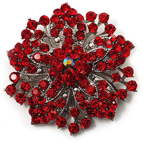 Victorian Corsage - Victorian Corsage Flower Brooch (Silver&Bright Red)