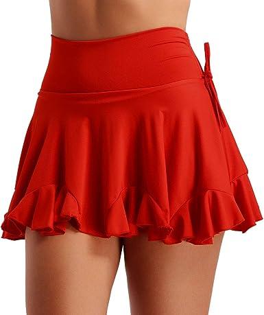 MSemis Falda Baile Latino Salsa Tango para Mujer Falda Volante ...