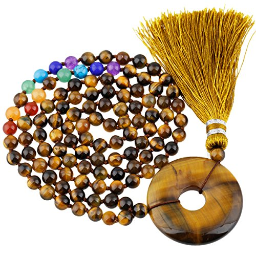 Tiger Eye Amulet (SUNYIK 7 Chakra Stone 108 Tibetan Buddhist Mala Necklace,with Round Donut Amulet,Tiger's Eye Stone)