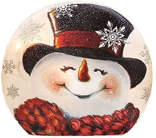 Stony Creek Joyful Snowman Round Lighted Glass Vase, 7 x 1.75 x 6.25 inches DGH8261-B