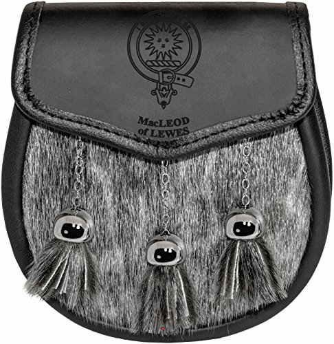 Macleod of Lewes Sporran Fur Plain Leather Flap Scottish Clan Crest