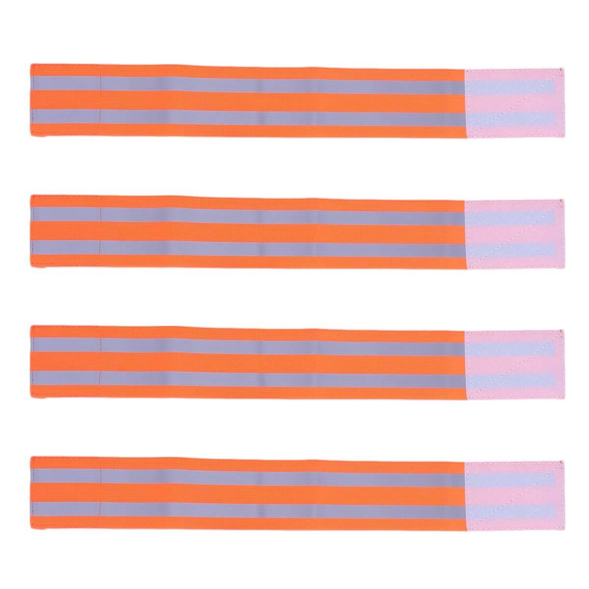 LIOOBO 4 stücke Reflektierende Bänder Handgelenk Arm Knöchelbein Reflektierende Laufbekleidung für Männer Frauen Nacht Laufen Radfahren Wandern Fahrrad (Orange)