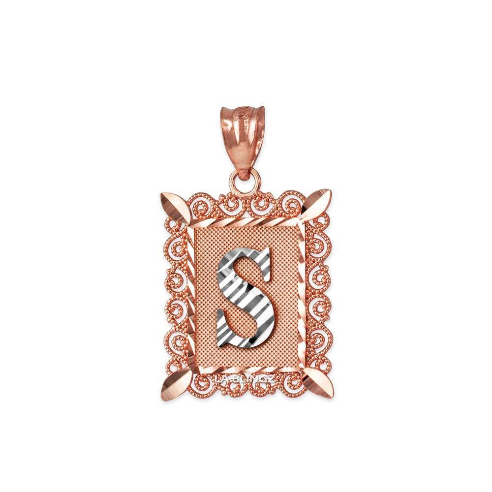 LA BLINGZ 14K Rose Gold Filigree Alphabet Initial Letter S DC Pendant Necklace