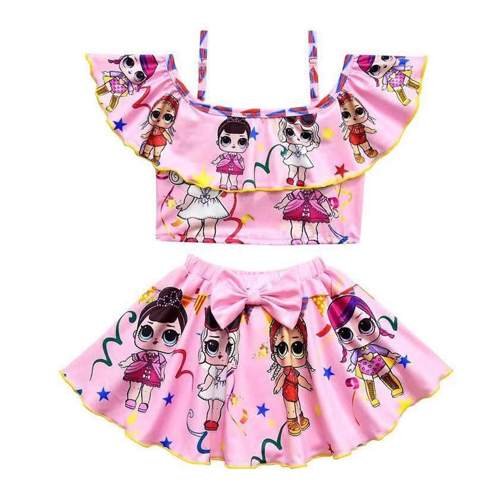 Girls Off Shoulder Swimsuits Toddler Two Piece Bikini Set Ruffle Doll Print Swimwear for Doll Surprised