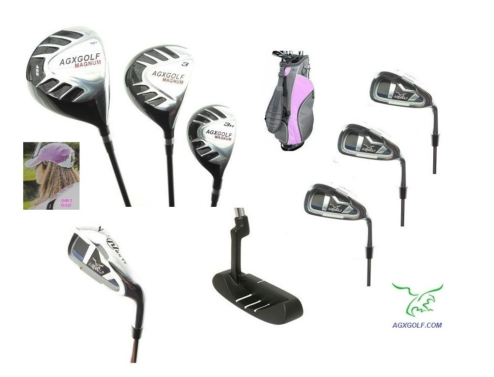 AGXGOLF Girls Right Hand Magnum Edition Golf Club Set w460cc Driver, Fairway Wood, Hybrid, 6, 8 Irons, Wedge, Bag & Free Putter; Tween, Teen or Tall Length; Fast Shipping: Clubs Built in the U.S.A.