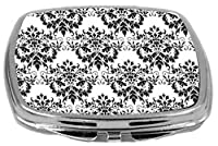 Rikki Knight Compact Mirror, Shabby Chic Black On White Damask
