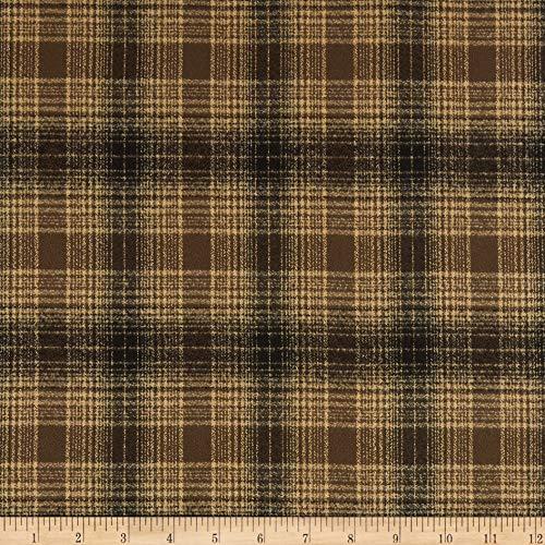 Kaufman Mammoth Flannel Chocolate Plaid Fabric by the -