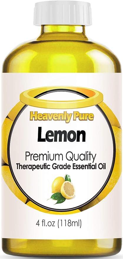 Amazon Com Aceite Esencial De Limón Puro Heavenly Pure 100 Puro Y Natural De Aroma De Limón Terapéutico De Grado Terapéutico Enorme 4 Onzas Tamaño A Granel Health Personal Care