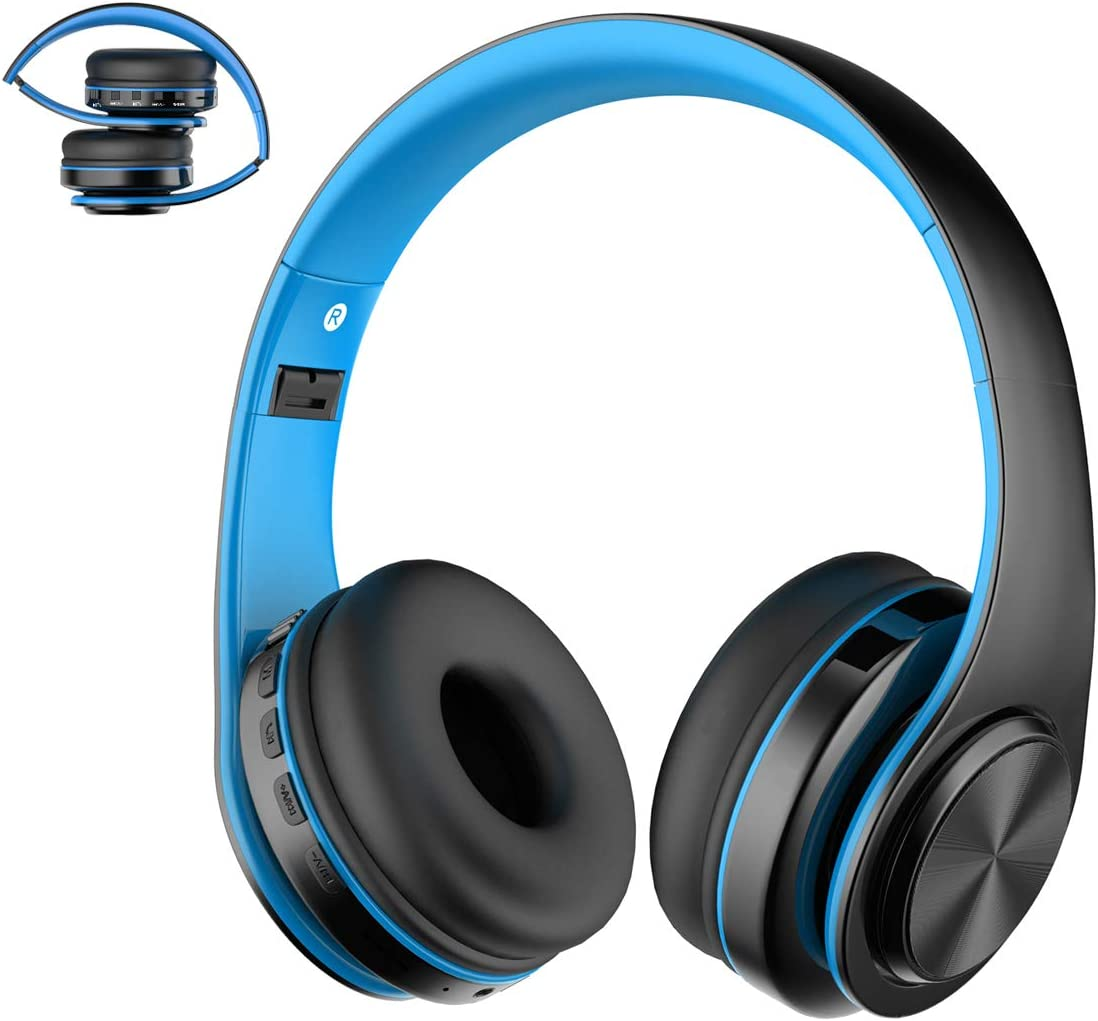 Viwind Wireless Bluetooth 5.0 Headphones Over Ear with Mic,Foldable Noise Cancelling Headset for Travel Work TV PC Android Cellphone Hi-Fi Stereo Comfortable Earpads -Blue