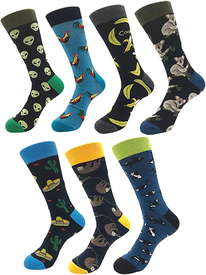 YoungSoul 7 pares calcetines estampados hombre mujer, Calcetines divertidos de algodon, Calcetines de colores de moda 01: Amazon.es: Ropa y accesorios