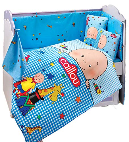Gold Case Caillou - Licenced Baby Deluxe Duvet Cover Set - 100% Cotton - 4 Pieces (Blue) - Made in Turkey