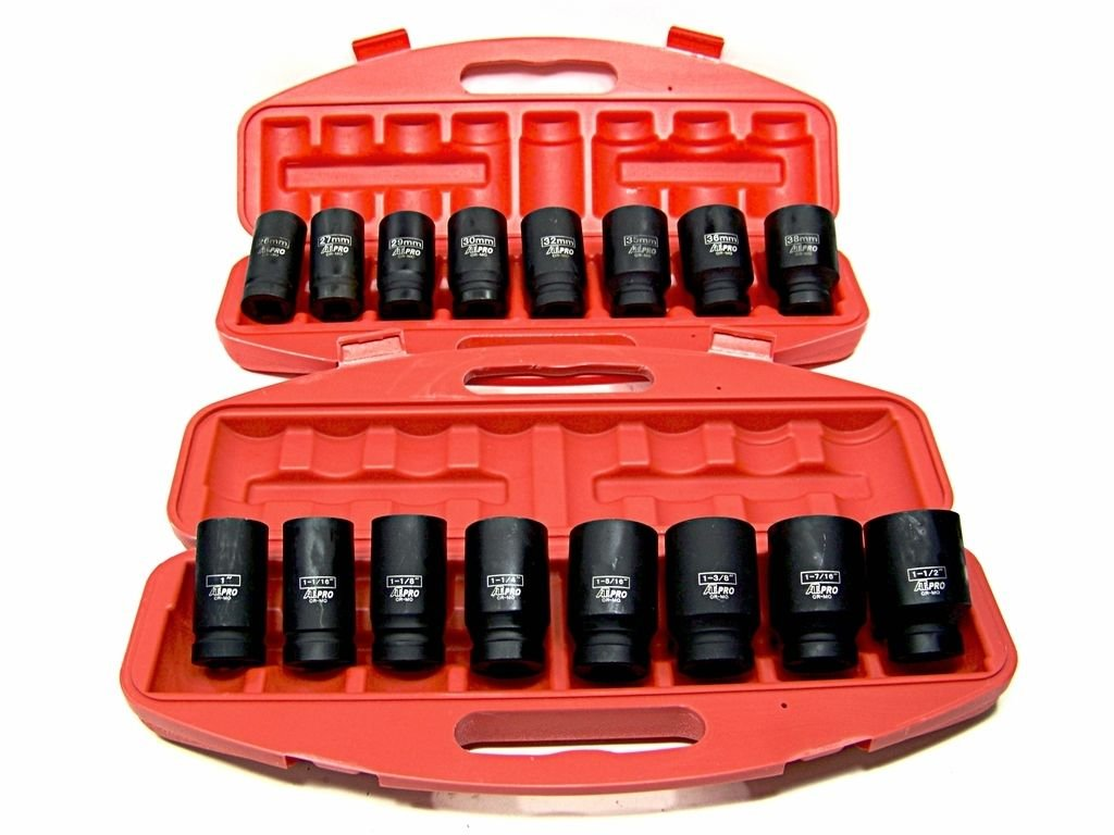 18pc 3-4 Drive Deep Air Impact Sockets Axle Nuts Remover Installer Sae And Mm