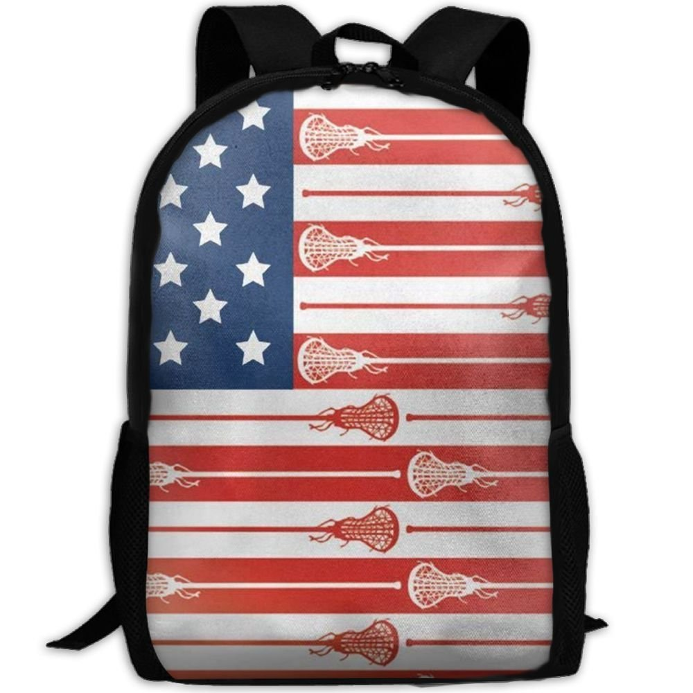 JJHGNL USA Lacrosse Sticks Flag Canvas Backpack School Bag Travel Daypack